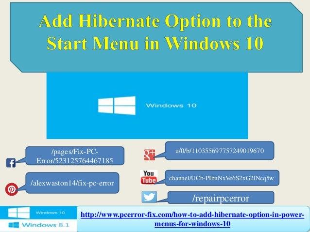 how to add sleep option in windows 10