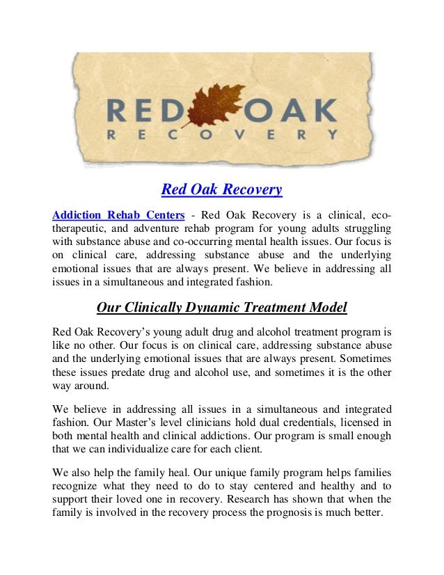 Red Oak Recovery Addiction Rehab Centers - Red Oak Recovery is a clinical, eco- therapeutic, and adventure rehab program f...