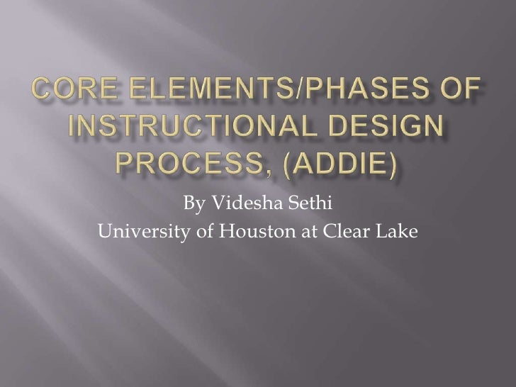 Core Elements/phases of instructional design Process, (ADDIE)<br />By VideshaSethi<br />University of Houston at Clear Lak...