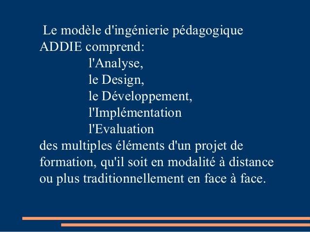 Le modèle d'ingénierie pédagogique ADDIE comprend: l'Analyse, le Design, le Développement, l'Implémentation l'Evaluation d...