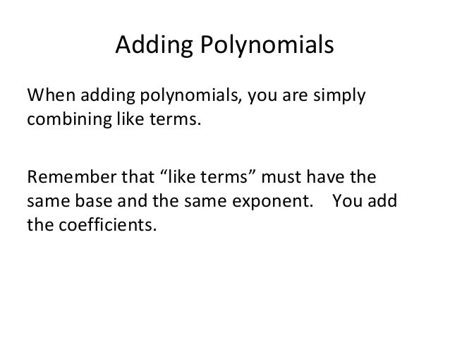 how to add and subtract polynomials