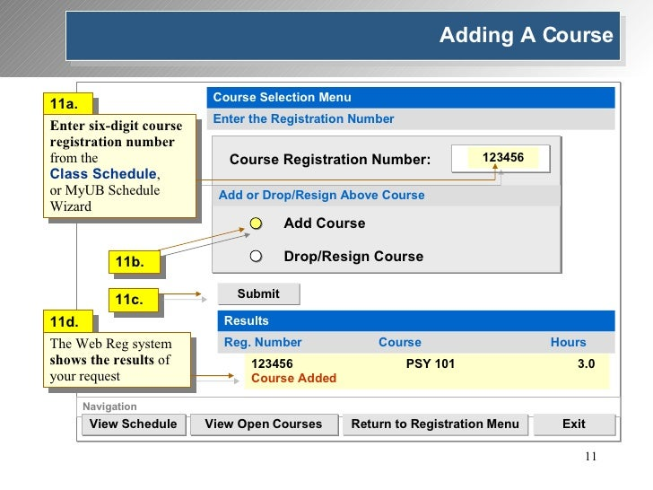 Navigation View Schedule Return to Registration Menu Exit View Open Courses Course Selection Menu Enter the Registration N...
