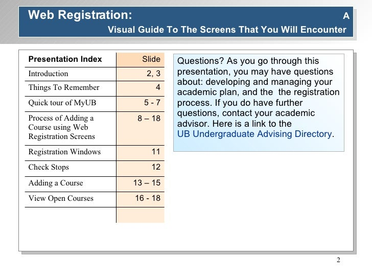 Web Registration:  A Visual Guide To The Screens That You Will Encounter   Questions? As you go through this presentation,...