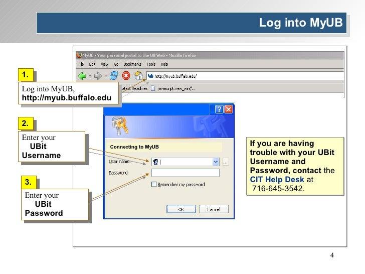 2. Enter your  UBit Username Connecting to MyUB 3. Enter your  UBit Password 1. Log into MyUB,  http://myub.buffalo.edu Lo...