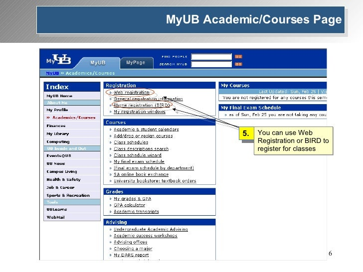 5. You can use Web Registration or BIRD to register for classes MyUB Academic/Courses Page