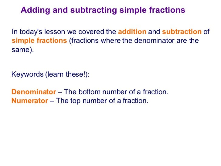 lesson plan addition and subtraction of
