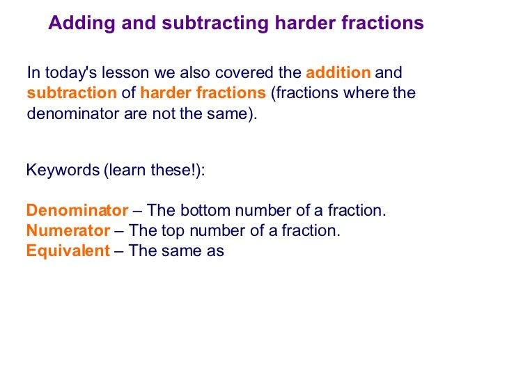 how to add and subtract dissimilar fractions