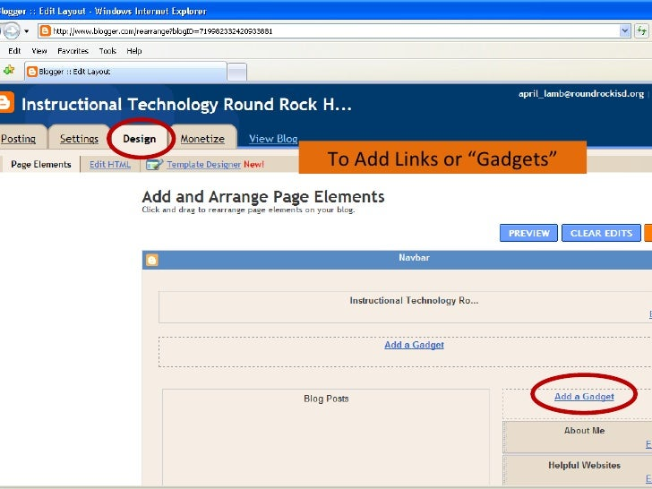 """To Add Links or """"Gadgets"""""""