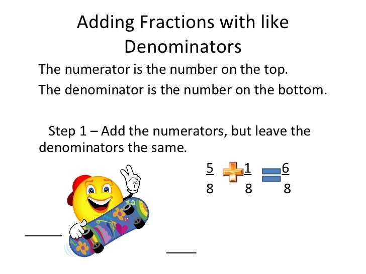 Adding and subtracting fractions adding fractions with like denominators ccuart Gallery