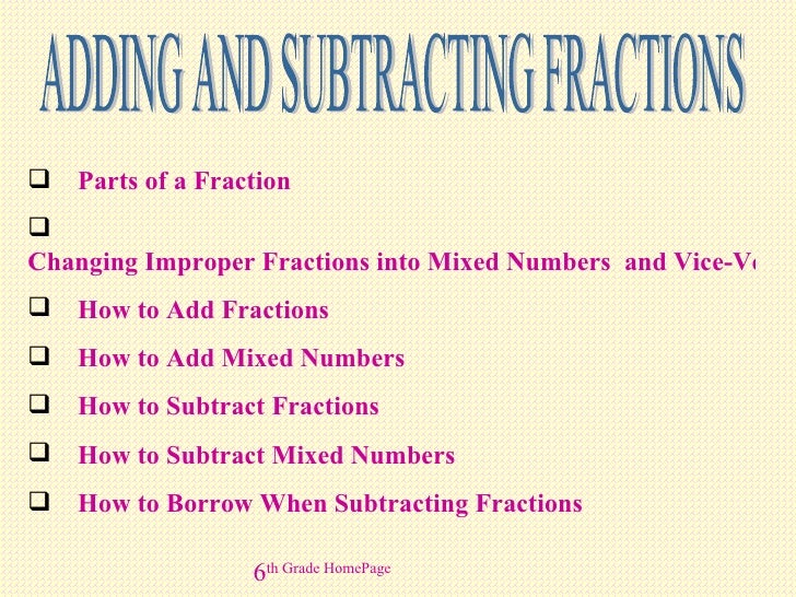 ADDING AND SUBTRACTING FRACTIONS <ul><li>Parts of a Fraction </li></ul><ul><li>Changing Improper Fractions into Mixed Numb...