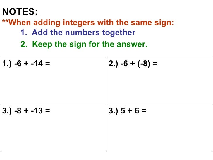 Adding And Subtracting Integers Reteach For Web 1 Adding Integers Practice Worksheets Notes **when Adding Integers With The Same Sign 1 Add The