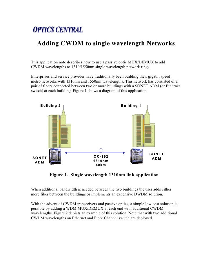 Adding CWDM to single wavelength NetworksThis application note describes how to use a passive optic MUX/DEMUX to addCWDM w...