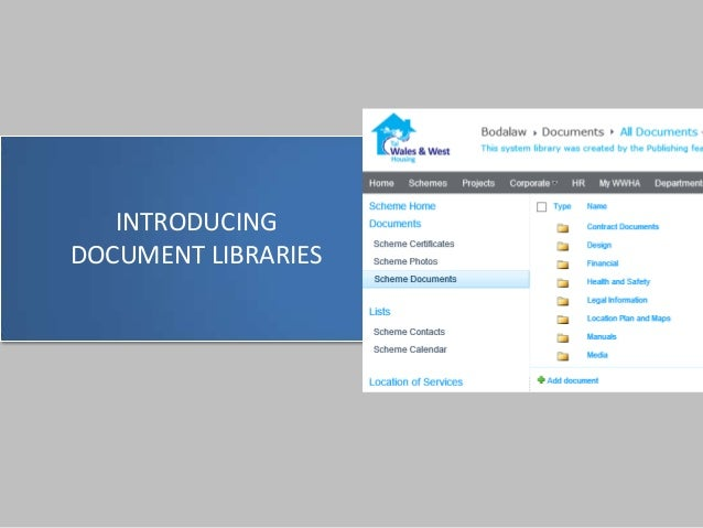 INTRODUCING DOCUMENT LIBRARIES