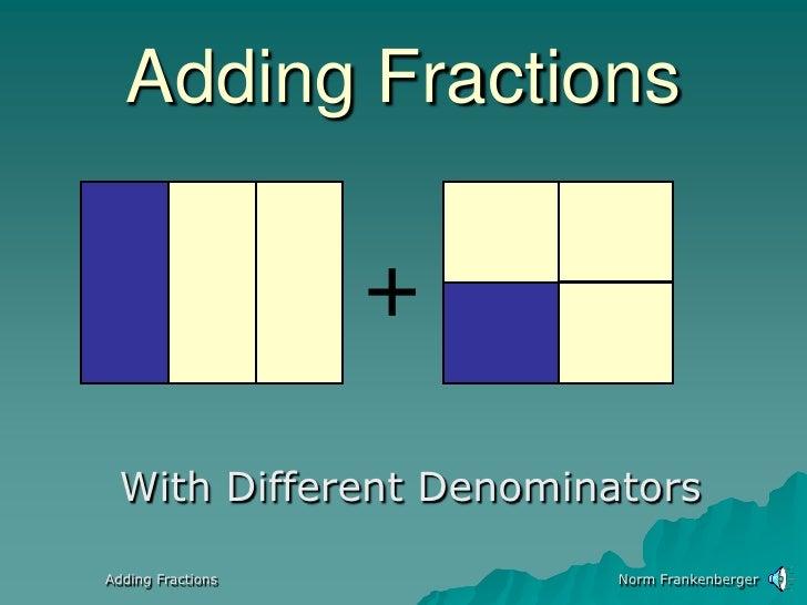 Norm Frankenberger<br />Adding Fractions<br />+<br />With Different Denominators<br />Adding Fractions<br />