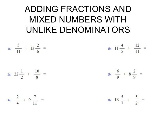Adding fractions and mixed numbers adding fractions with unlike denominators 5 adding fractions and mixed numbers ccuart Gallery