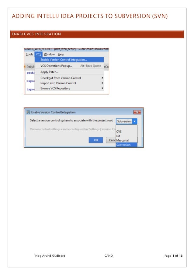 Adding Idea IntelliJ projects to Subversion Version Control