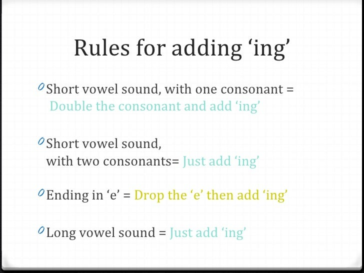 Rules for adding 'ing' to base words