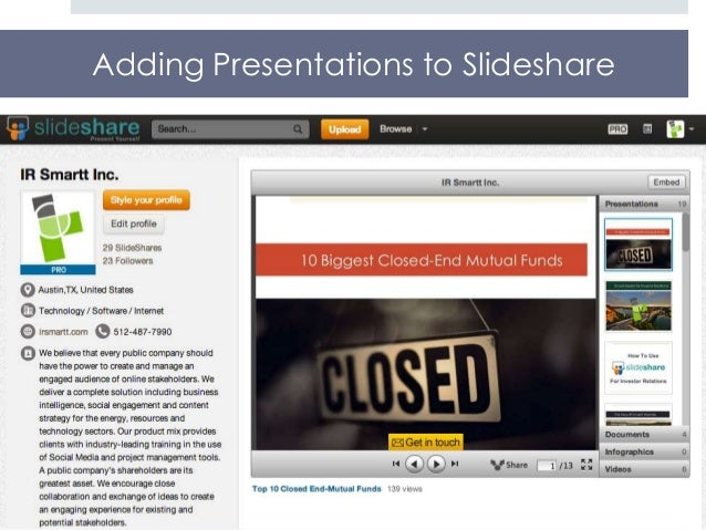 Adding Presentations to Slideshare