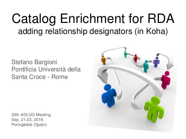 Catalog Enrichment for RDA adding relationship designators (in Koha) Stefano Bargioni Pontificia Università della Santa Cr...