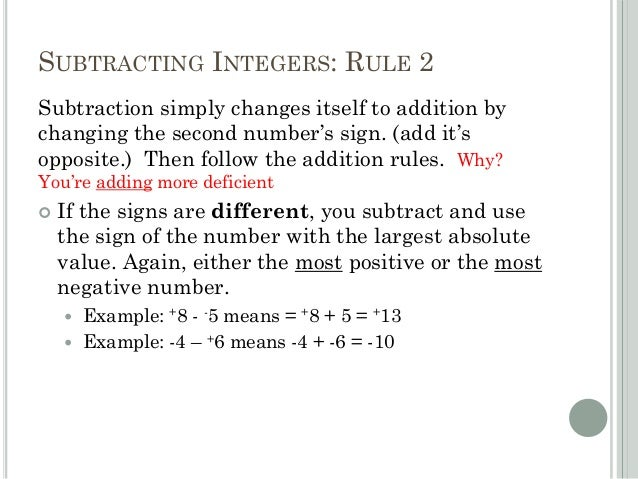 Worksheets Integers Rules adding subtracting integers in everyday life 22 rule