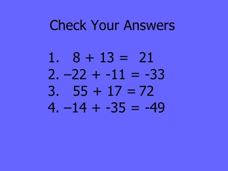 Adding Subtracting Integers