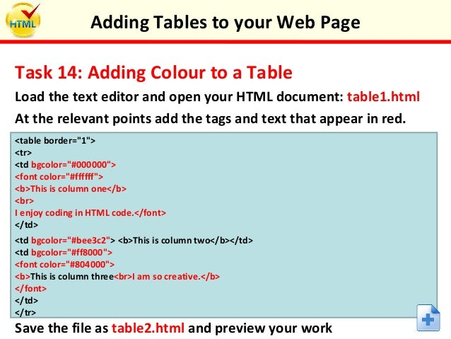 Adding Tables To Your Web Page