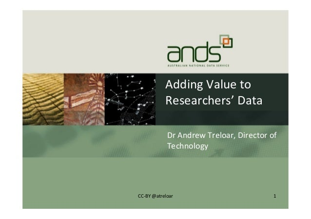 Adding	   Value	   to	    Researchers'	   Data	    Dr	   Andrew	   Treloar,	   Director	   of	    Technology	    1	   CC-­...