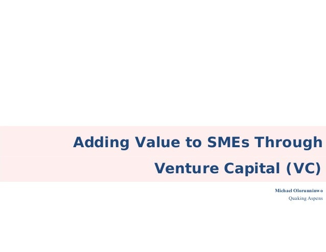 Adding Value to SMEs ThroughVenture Capital (VC)Michael OlorunninwoQuaking Aspens