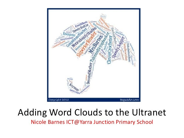 Adding Word Clouds to the Ultranet  Nicole Barnes ICT@Yarra Junction Primary School
