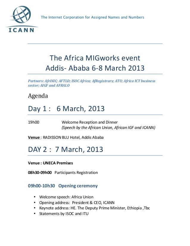 The	  Africa	  MIGworks	  event	                  Addis-­‐	  Ababa	  6-­‐8	  March	  2013	  Partne...