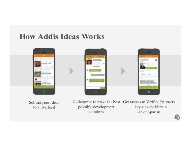 How Addis Ideas Works Submit your ideas to a live feed Collaborate to make the best possible development solutions Get acc...