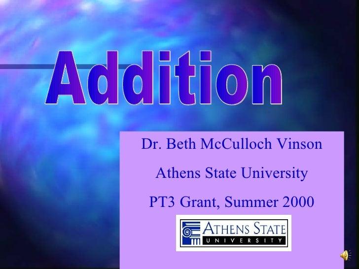 Dr. Beth McCulloch Vinson Athens State University PT3 Grant, Summer 2000