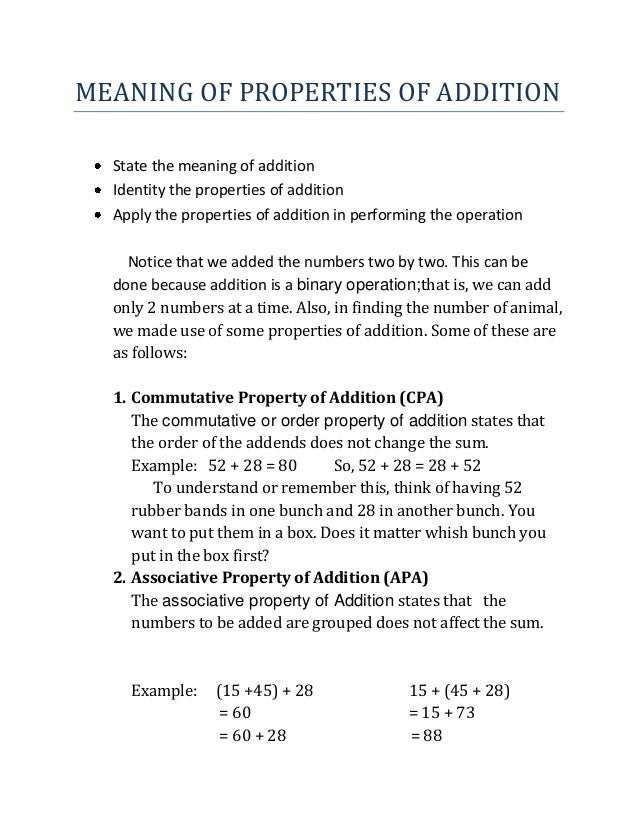 MEANING OF PROPERTIES OF ADDITION State the meaning of addition Identity the properties of addition Apply the properties o...