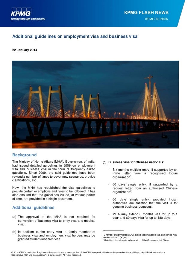 KPMG FLASH NEWS KPMG IN INDIA  Additional guidelines on employment visa and business visa 22 January 2014  Background The ...