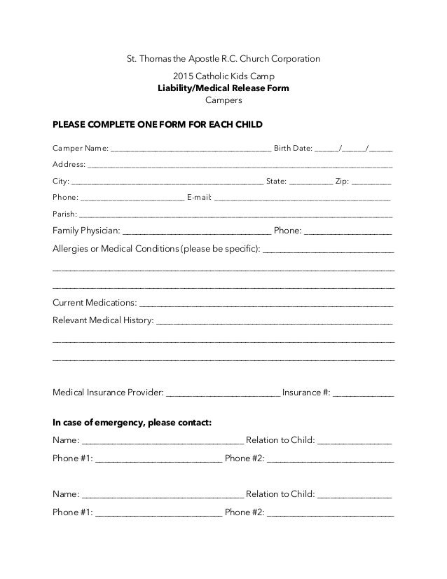 Additional camper liability medical release form – Medical Release Form