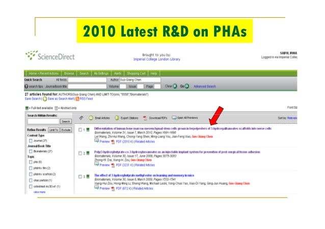 2010 Latest R&D on PHAs