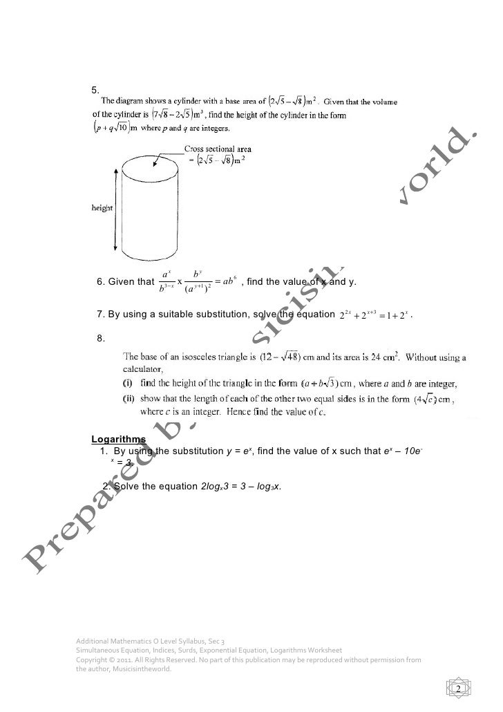 O Level A Maths Sec 3 Syallbus 2011 Simultaneous Equation Indices S – A Level Maths Worksheets