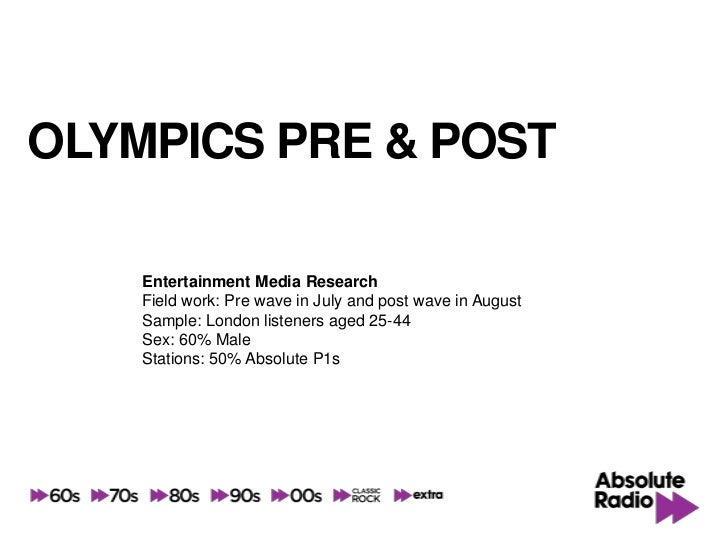 OLYMPICS PRE & POST    Entertainment Media Research    Field work: Pre wave in July and post wave in August    Sample: Lon...