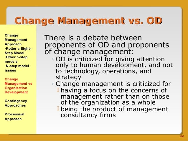 od and processual approaches Chapter8 include change management, contingency, and processual approaches there are several objectives for us to understand, to appreciate more clearly the organizational change approaches underpinning the director and navigator images of managing change, to understand the change.