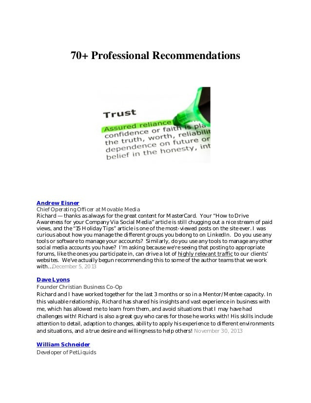 70+ Professional Recommendations Andrew Eisner Chief Operating Officer at Movable Media Richard — thanks as always for the...