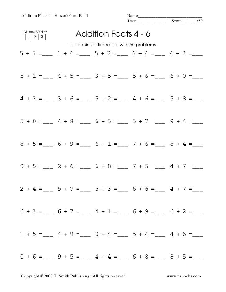 Addition fluency drill math facts – Addition Drill Worksheets