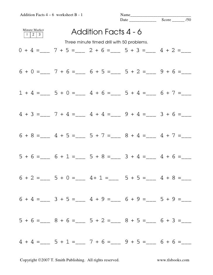 Addition Timed Test Printable 0 12 - math facts free ...