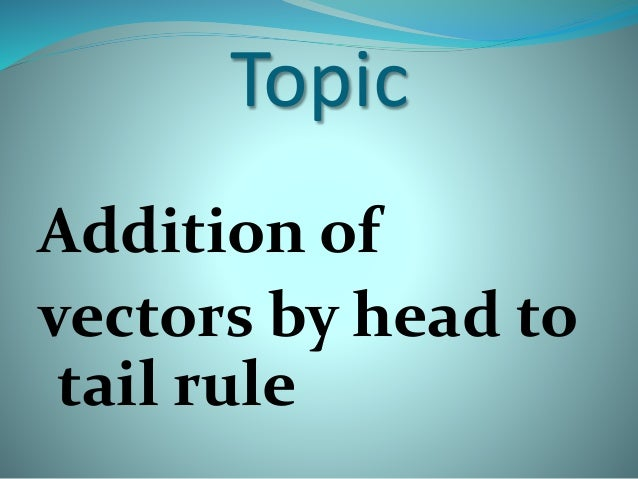 Topic Addition of vectors by head to tail rule