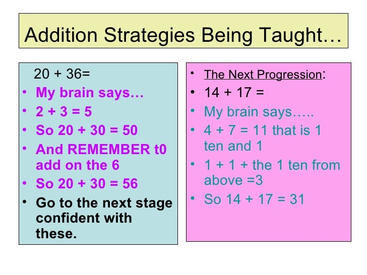 Addition Strategies Being Taught… <ul><li>20 + 36= </li></ul><ul><li>My brain says… </li></ul><ul><li>2 + 3 = 5 </li></ul>...