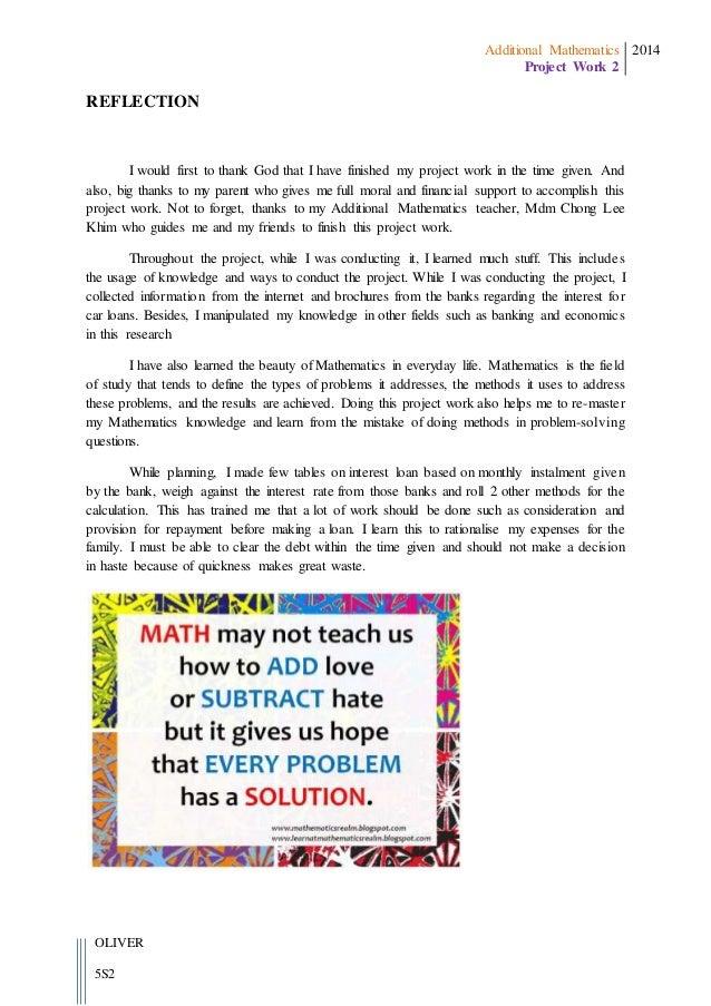 Additional Mathematics Project Work Form 5 2014