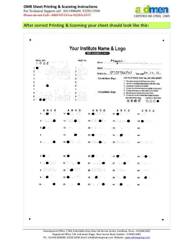 Addmen omr printing & scanning guide - OMR Sheet checker