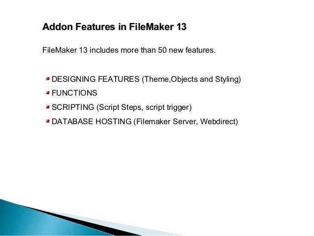 Addon Features FileMaker 13