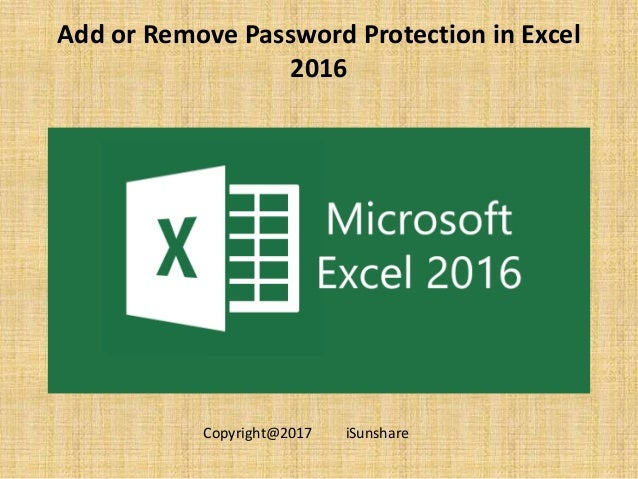 remove password protection excel