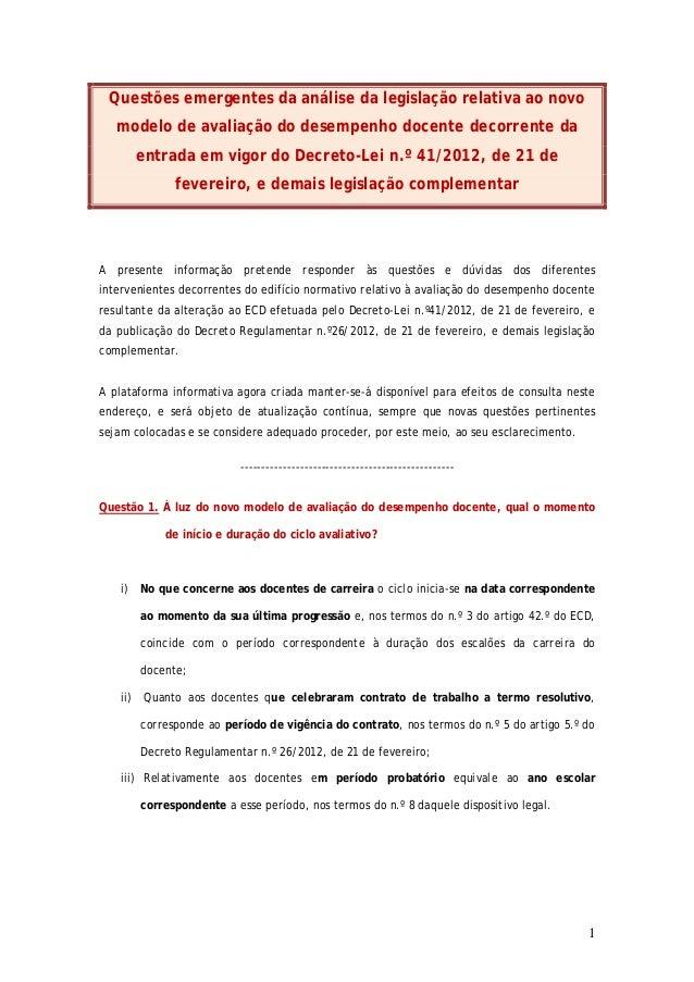Questões emergentes da análise da legislação relativa ao novo   modelo de avaliação do desempenho docente decorrente da   ...