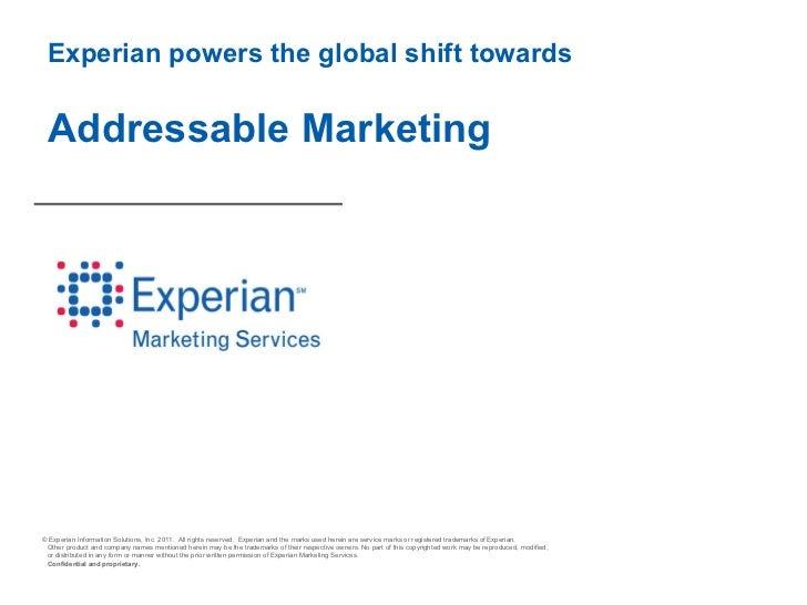 Experian powers the global shift towards  Addressable Marketing